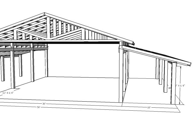 Open Sided Pole Barn Plans http://www.tractorbynet.com/forums/projects/117160-finally-started-pole-barn-40x50-2.html